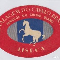 Etiquetas antiguas: ETIQUETA DEL HOTEL ESTALAGEM DO CAVALO BRANCO. LISBOA, PORTUGAL.. Lote 182643618