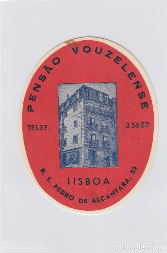 ETIQUETA DEL HOTEL PENSAO VOUZELENSE. LISBOA, PORTUGAL. (Coleccionismo - Etiquetas)