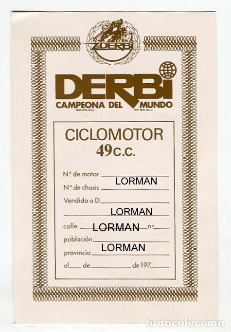 DERBI -FICHA (EN BLANCO) QUE FACILITABA LA CASA DERBI AL ADQUIRIR UN CICLOMOTOR-ORIGINAL VER REVERSO (Coleccionismo - Etiquetas)