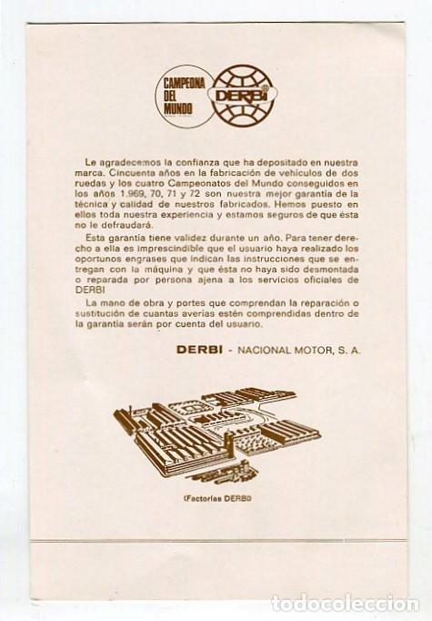 Etiquetas antiguas: DERBI -FICHA (EN BLANCO) QUE FACILITABA LA CASA DERBI AL ADQUIRIR UN CICLOMOTOR-ORIGINAL VER REVERSO - Foto 2 - 182720811
