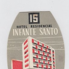 Etiquetas antiguas: ETIQUETA DEL HOTEL RESIDENCIAL INFANTE SANTO. LISBOA, PORTUGAL.. Lote 182894910