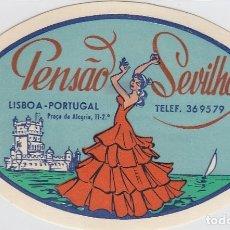 Etiquetas antiguas: ETIQUETA DEL HOTEL PENSAO SEVILHA. LISBOA, PORTUGAL.. Lote 182898183