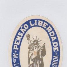 Etiquetas antiguas: ETIQUETA DEL HOTEL PENSAO LIBERDADE. LISBOA, PORTUGAL.. Lote 182901415