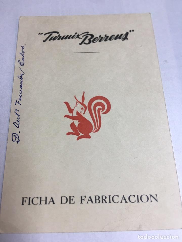 FICHA DE FABRICACION, BATIDORA, TURMIX BERREUS, AÑO 1958, MEDIDAS 95X142MM (Coleccionismo - Etiquetas)