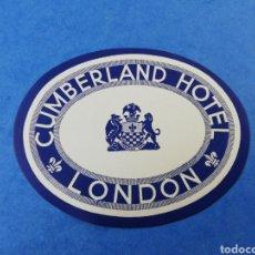 Etiquetas antiguas: ANTIGUA ETIQUETA CUMBERLAND HOTEL LONDON LONDRES INGLATERRA REINO UNIDO LUGGAGE LABEL. Lote 182974206