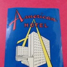 Etiquetas antiguas: ANTIGUA ETIQUETA AMERICAN HOTEL MILANO MILAN ITALIA LUGGAGE LABEL. Lote 182977817