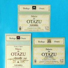 Etiquetas antiguas: ETIQUETAS BODEGA OTAZU - LOTE DE TRES; PALACIO DE OTAZU, NAVARRA,1995-96-97 - NUEVAS, SIN USO.. Lote 183030483