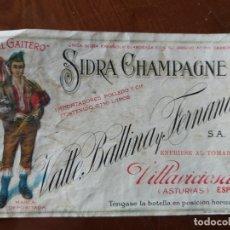 Etichette antiche: ANTIGUA ETIQUETA SIDRA EL GAITERO. Lote 183261056