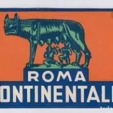 Etiquetas antiguas: ETIQUETA DEL HOTEL CONTINENTALE. ROMA, ITALIA.. Lote 183434088