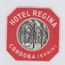 Étiquettes anciennes: ETIQUETA DEL HOTEL REGINA. CÓRDOBA.. Lote 183947992