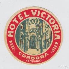 Étiquettes anciennes: ETIQUETA DEL HOTEL VICTORIA. CÓRDOBA.. Lote 183948421