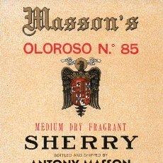 Etiquetas antiguas: ETIQUETA DE VINO. MASSON. OLOROSO Nº 85 SHERRY. JEREZ DE LA FRONTERA.. Lote 184102986