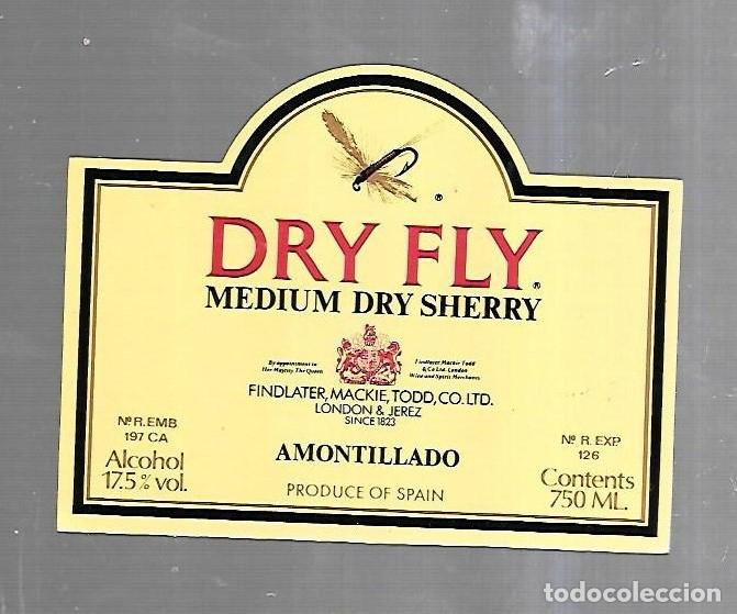 Etiquetas antiguas: ETIQUETA DE VINO. DRY FLY. MEDIUM DRY SHERRY. AMONTILLADO - Foto 1 - 184432867