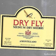 Etiquetas antiguas: ETIQUETA DE VINO. DRY FLY. MEDIUM DRY SHERRY. AMONTILLADO. Lote 184432867
