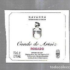 Etiquetas antiguas: ETIQUETA DE VINO. CONDE DE ARTOIZ. ROSADO. NAVARRA. Lote 184506778
