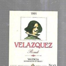 Etiquetas antiguas: ETIQUETA DE VINO. VELAZQUEZ. ROSADO. VALENCIA. Lote 184507808