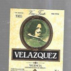 Etiquetas antiguas: ETIQUETA DE VINO. VELAZQUEZ. VINO TINTO. 1985. VALENCIA. Lote 184507851