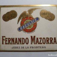 Etiquetas antiguas: ETIQUETA ORIGINAL FERNANDO MAZORRA JEREZ DE LA FRONTERA PERFECTO ESTADO. Lote 184665141