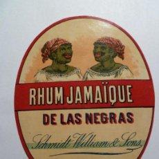 Etiquetas antiguas: ETIQUETA ORIGINAL RON RHUM JAMAIQUE DE LAS NEGRAS. Lote 184665503
