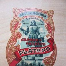 Etiquetas antiguas: ETIQUETA DE JARABE SELECTO DE PLÁTANO EL ESPAÑOLETO AÑOS 20 VER DESCRIPCIÓN. Lote 185009056