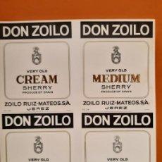 Etiquetas antiguas: LOTE DE CUATRO ETIQUETAS DON ZOILO SHERRY. Lote 185178248