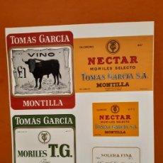 Etiquetas antiguas: LOTE DE CINCO ETIQUETAS ANTIGUAS DE VINO ( VER FOTO). Lote 185182311