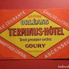Etiquetas antiguas: ETIQUETA MALETA - LUGGAGE LABEL - HOTEL TERMINUS HOTEL - ORLEANS - FRANCIA - 7,5 X 12 CM. Lote 186192280