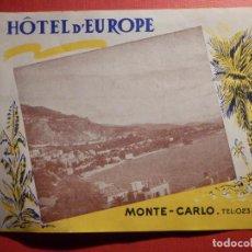 Etiquetas antiguas: NO ETIQUETA MALETA - LUGGAGE LABEL - HOTEL D´EUROPE - MONTE CARLO - FOLLETO 28 X 11 CM . Lote 186192473