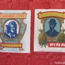 Etiquetas antiguas: LOTE ANTIGUOS ENVOLTORIOS CARAMELO CINE. MARY PICKFORD-C. CHAPLIN. Lote 187619941