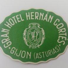 Etiquetas antiguas: ETIQUETA GRAN HOTEL HERNAN CORTES GIJON ASTURIAS ESPAÑA LUGGAGE LABEL ANTIGUA.. Lote 188481916