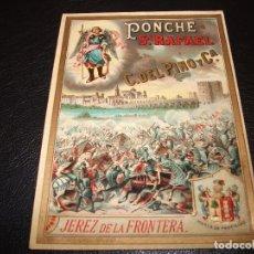 Etiquetas antiguas: ETIQUETA DE PONCHE SAN RAFAEL C. DEL PINO JEREZ DE LA FRONTERA TOMA DE CORDOBA FERNADO III EL SANTO. Lote 189149121