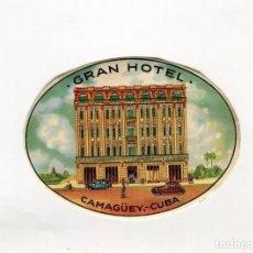 Etiquetas antiguas: CUBA - CAMAGUEY - GRAN HOTEL ETIQUETA ( 8 X11 CMS. APROX.) AÑOS 50. Lote 189388560