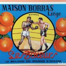 Etiquetas antigas: GRAN ETIQUETA CARTEL ITO NARANJAS LOS BOXEADORES BOXEO LES BOXEURS GRANDE ORIGINAL. Lote 189437801