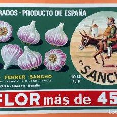 Étiquettes anciennes: GRAN ETIQUETA CARTEL ITO AJOS SANCHO QUIJOTE FLOR ANTONIO FERRER LA RODA ALBACETE ORIGINAL K7. Lote 189462497