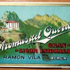 Etiquetas antiguas: ETIQUETA AROMAS DE QUERALT GRAN LICOR ESTOMACAL RAMÓN VILA BERGA. Lote 114784267