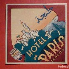 Etiquetas antiguas: ETIQUETA PARA MALETA - BAGGAGE LABEL - HOTEL DE PARIS - TANGIER - 9,5 X 9,5 CM. Lote 190083036