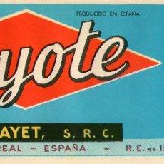 Etiquetas antiguas: ETIQUETA DE NARANJAS DE VILLARREAL COYOTE 233X78 M/M. Lote 190390816