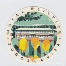 Etiquetas antiguas: ETIQUETA DEL HOTEL PLITVICE, YUGOSLAVIA.. Lote 191092950