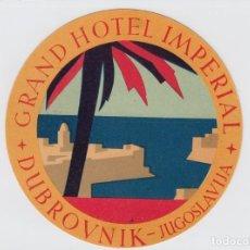 Etiquetas antiguas: ETIQUETA DEL HOTEL IMPERIAL. DUBROVNIK, YUGOSLAVIA.. Lote 191093300