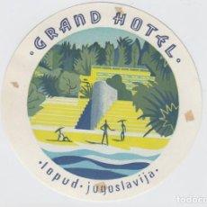 Etiquetas antiguas: ETIQUETA DEL HOTEL GRAND HOTEL. LOPUD, YUGOSLAVIA.. Lote 191093371