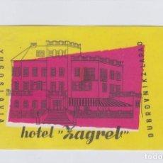 Etiquetas antiguas: ETIQUETA DEL HOTEL ZAGREB. DUBROVNIK, YUGOSLAVIA.. Lote 191093752