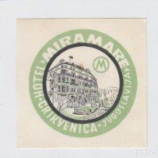 Etiquetas antiguas: ETIQUETA DEL HOTEL MIRAMARE. CRIKVENICA, YUGOSLAVIA.. Lote 191093957
