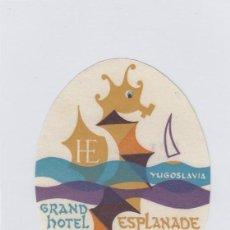 Etiquetas antiguas: ETIQUETA DEL HOTEL GRAND HOTEL ESPLANADE. CRIKVENICA, YUGOSLAVIA.. Lote 191094185