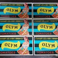 Etiquetas antiguas: LOTE 50 ETIQUETAS OLYM TOMATOES CANARY ISLANDS PRODUCE. FUERTEVENTURA. AÑOS 60. ORIGINALES DE ÉPOCA.. Lote 191109256