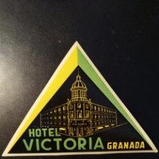 Etiquetas antiguas: ETIQUETA DE HOTEL, LABEL, HOTEL VICTORIA, GRANADA. Lote 191182316