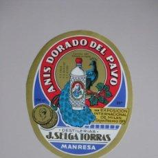 Etiquetas antiguas: DESTILERIAS J.SELGA TORRAS -MANRESA **ANIS DORADO DEL PAVO **. Lote 191186055