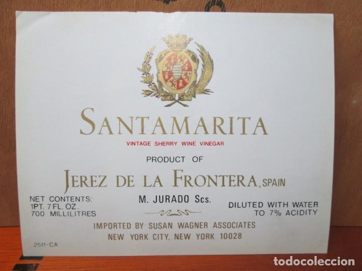 ANTIGUA ETIQUETA, SANTAMARIA VINTAGE SHERRY WINE VINEGAR JEREZ (Coleccionismo - Etiquetas)
