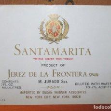 Etiquetas antiguas: ANTIGUA ETIQUETA, SANTAMARIA VINTAGE SHERRY WINE VINEGAR JEREZ. Lote 191907340