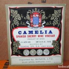 Etiquetas antiguas: ANTIGUA ETIQUETA ,CAMALIA SPANISH SHERRY WINE VINEGAR.. Lote 191910376