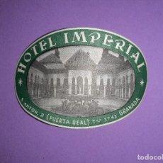 Etiquetas antiguas: ANTIGUA ETIQUETA HOTEL IMPERIAL GRANADA. Lote 193453192